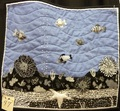 Tiny quilt - under the sea, blue black and white