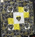 Small quilt - yellow, black & white with hearts