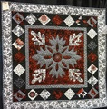 Small floral quilt - red, black & white