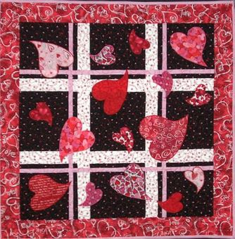 Picture wall hanging quilt - appliqued hearts all over